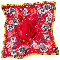 Платок -каре D.OLYA by Olga Dvoryanskaya Dolya с машинным подшивом красного цвета, фото