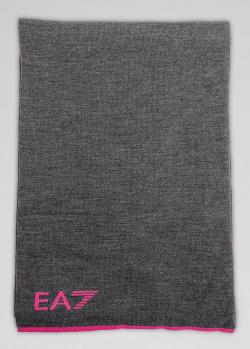 Шарф Ea7 Emporio Armani серого цвета с розовыми вставками, фото