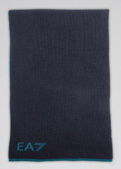 Двухсторонний шарф Ea7 Emporio Armani синего цвета, фото