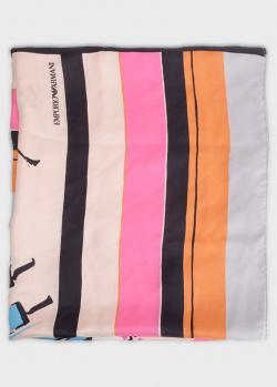 Женский шелковый шарф Emporio Armani с рисунком, фото