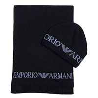 Мужской темно-синий набор Emporio Armani из шапки и шарфа, фото