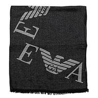 Шарф Emporio Armani с брендированой надписью темно-серого цвета, фото