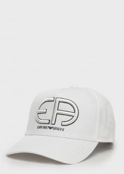 Белая кепка Emporio Armani с крупным логотипом, фото