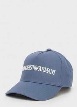 Голубая кепка Emporio Armani с вышивкой-логотипом, фото