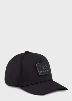 Черная кепка Emporio Armani с брендовой нашивкой, фото