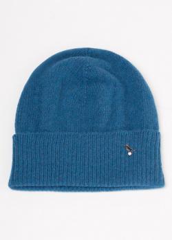 Синяя кашемировая шапка GD Cashmere с отворотом, фото