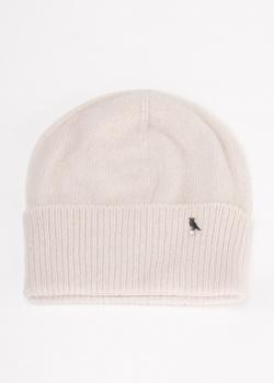 Белая шапка GD Cashmere с декором в виде птицы, фото