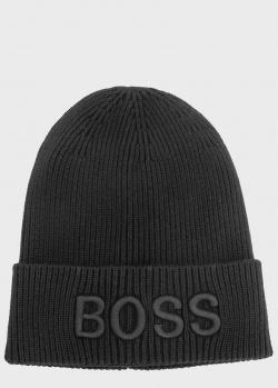 Черная шапка Hugo Boss из смесового хлопка, фото