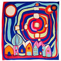 Шелковый платок Freywille красно-синего цвета, фото