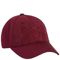 Бордовая кепка Kenzo с вышивкой-тигром, фото