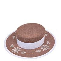 Льняная шляпа-канотье Shapelie с орнаментом белого цвета, фото