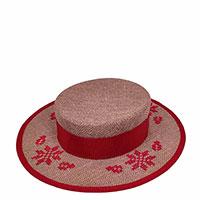 Льняная шляпа-канотье Shapelie с орнаментом красного цвета, фото