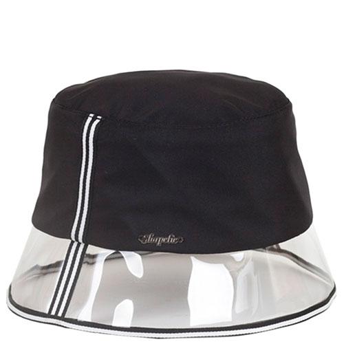 Черная шляпа Shapelie с прозрачной тульей и белыми полосками, фото