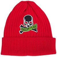Красная шапка Philipp Plein из шерсти с черепом и логотипом, фото