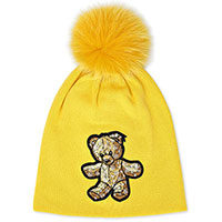 Желтая шапка Philipp Plein с нашивкой-медведем, фото