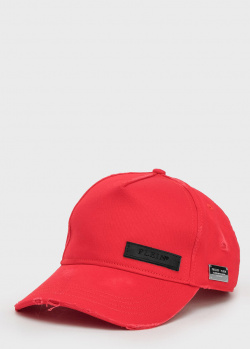 Красная кепка Philipp Plein с потертостями, фото