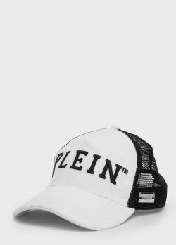 Мужская кепка Philipp Plein черно-белого цвета, фото