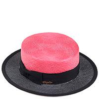 Женская шляпа Shapelie Канотье розовая с черным, фото