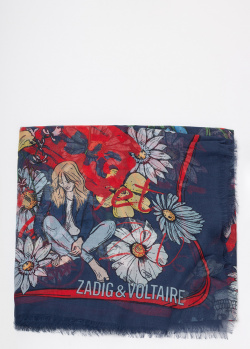 Синий шарф Zadig & Voltaire с цветочным принтом, фото