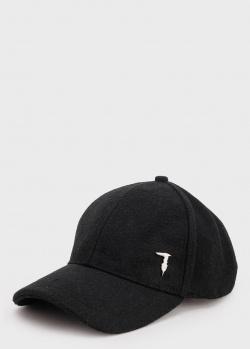 Кепка черного цвета Trussardi с кожаным ремешком, фото