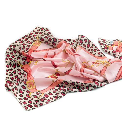 Шелковый платок Fattorseta Розовый жемчуг с принтом, фото