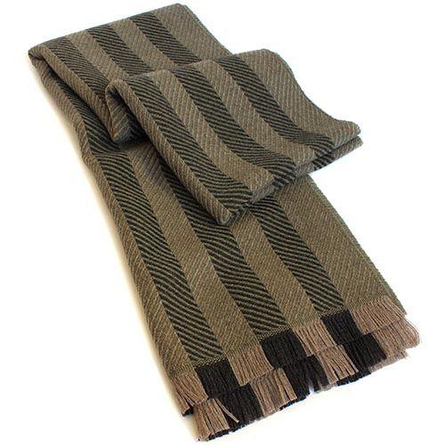 Полосатый шерстяной шарф Maalbi оливкового цвета, фото