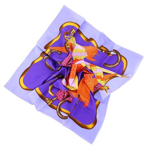 Яркий модный лавандовый шелковый платок с изображением зонтиков, фото