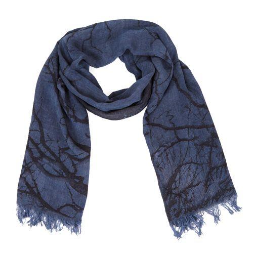 Шарф Jack Bag темно-синего цвета с черным абстрактным принтом , фото