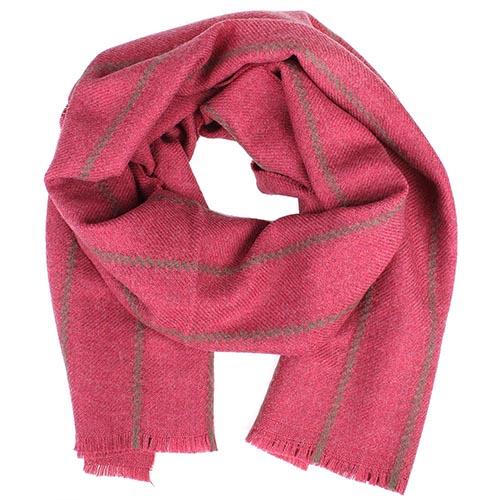 Теплый розовый шарф Maalbi в полоску из шерсти, фото