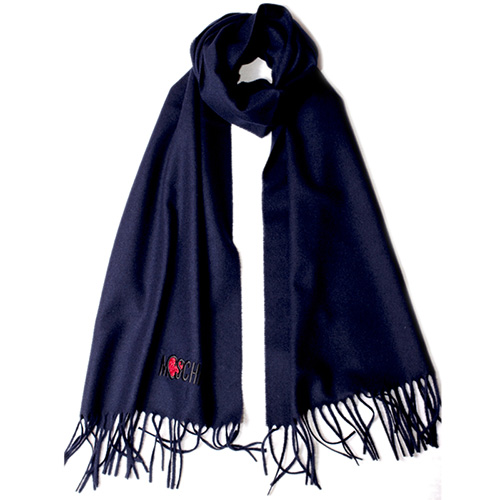 Темно-синий шарф Moschino с бахромой, фото
