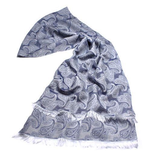 Женский шарф Fattorseta серо-синего цвета с турецкими огурцами, фото