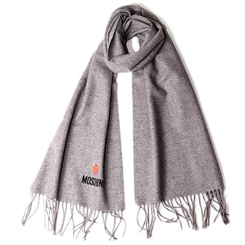 Серый шарф Moschino с брендированием, фото