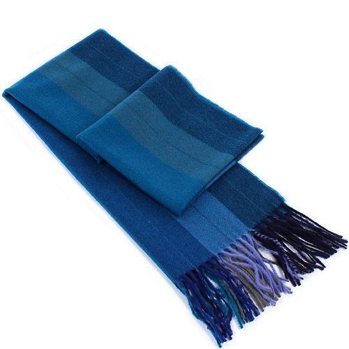 Шерстяной шарф Maalbi полосатый в оттенках синего цвета, фото