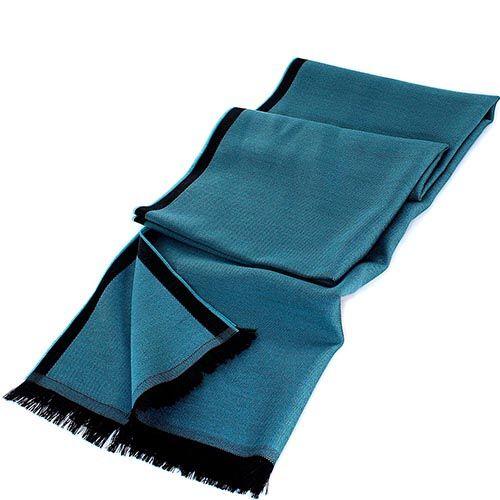 Палантин Maalbi бирюзового цвета с черной окантовкой, фото