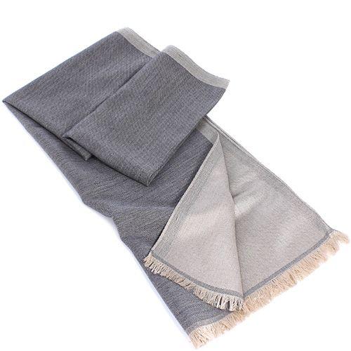 Теплый итальянский шарф Maalbi из шерсти и шелка двусторонний в светлых оттенках серого, фото