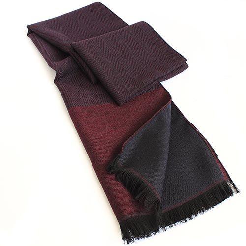 Шарф Maalbi из шерсти и шелка бордового цвета с коричневой окантовкой, фото