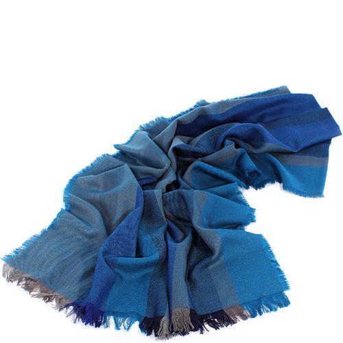 Шерстяной итальянский палантин Maalbi бирюзового и королевского синего цвета, фото