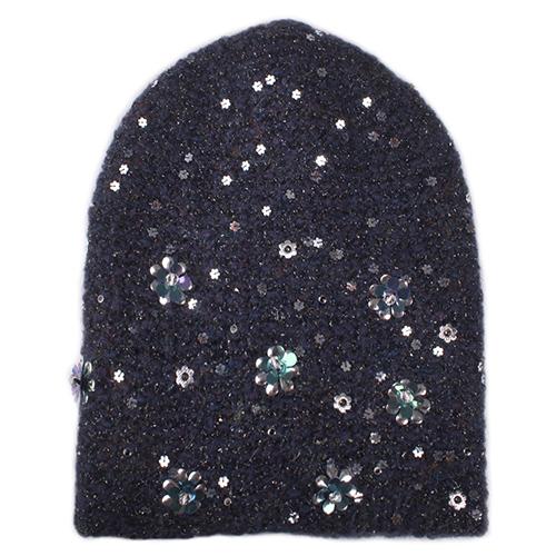 Синяя женская шапка Vizio Collezione с декором цветов, фото