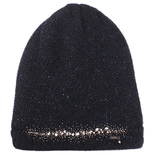 Синяя шапка Vizio Collezione с декором-стразы, фото