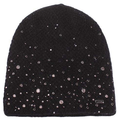 Черная шапка Vizio Collezione с металлическим декором, фото