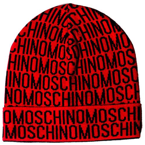 Красная шапка Moschino с логотипом черного цвета, фото