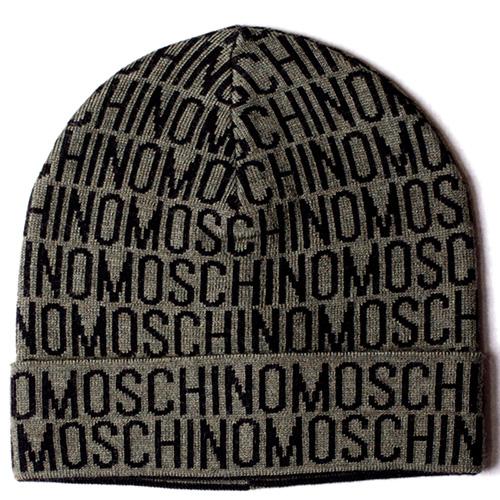 Шапка зеленого цвета Moschino с черным логотипом, фото