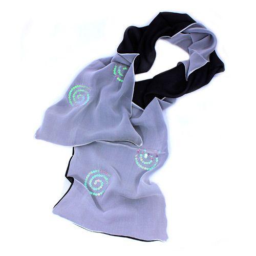 Шелковый итальянский шарф Ostinelli Серый дымчатый с пайетками, фото