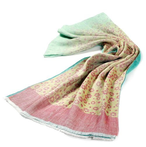Льняной шарф Ostinelli с оливковым оттенком, фото
