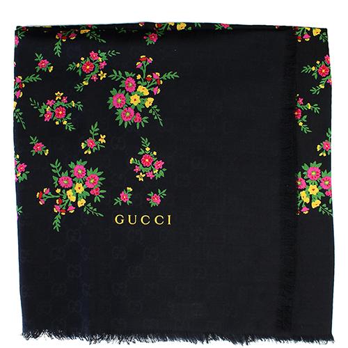 Черный платок Gucci с декором-цветами, фото
