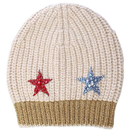Бежевая шапка Gucci с декором-пайетками, фото