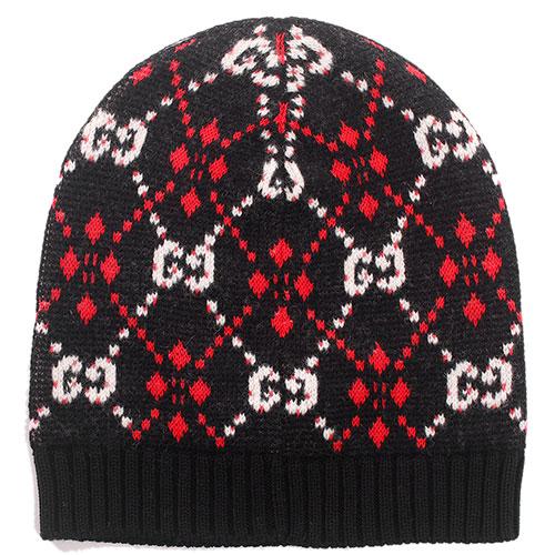 Черная шапка Gucci с орнаментом, фото
