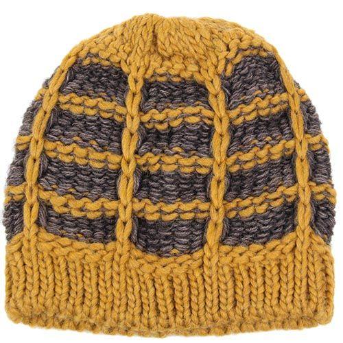 Шапка Le Camp вязаная желто-коричневая, фото