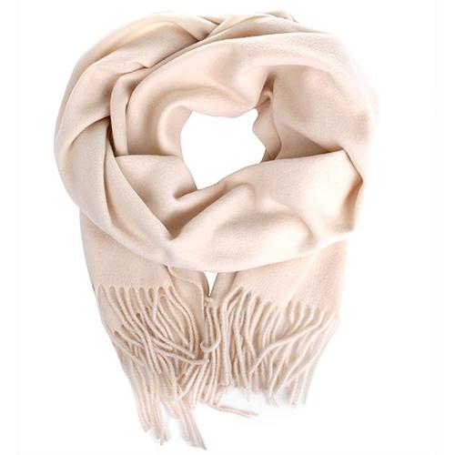 Бежевый шарф Maalbi из шерсти с бахромой, фото