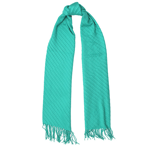 Однотонный шарф-плиссе Fattorseta цвета морской волны, фото